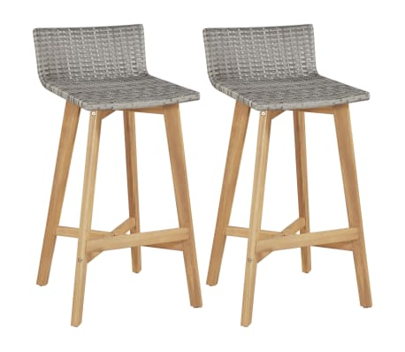 vidaXL Bar Chairs 2 pcs Poly Rattan Solid Acacia Wood[1/5]