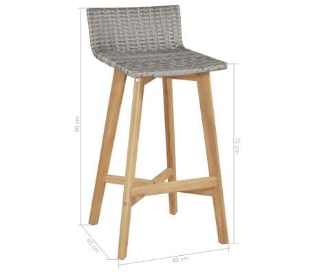 vidaXL Bar Chairs 2 pcs Poly Rattan Solid Acacia Wood[5/5]