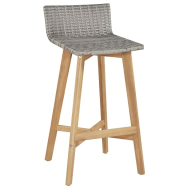 vidaXL Bar Chairs 2 pcs Poly Rattan Solid Acacia Wood[2/5]