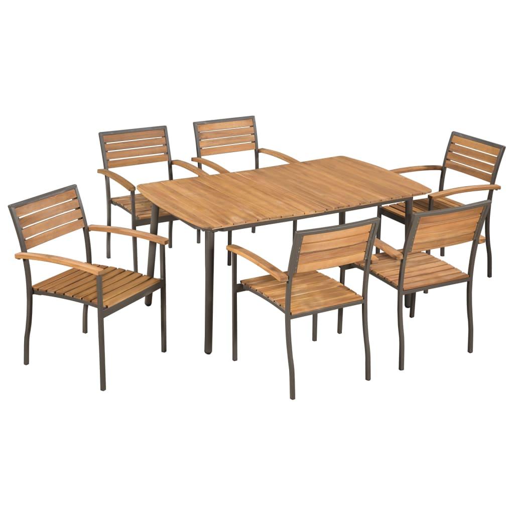 VidaXL 7-tlg. Garten-Essgruppe Akazie Massivholz und Stahl Gartenmöbel