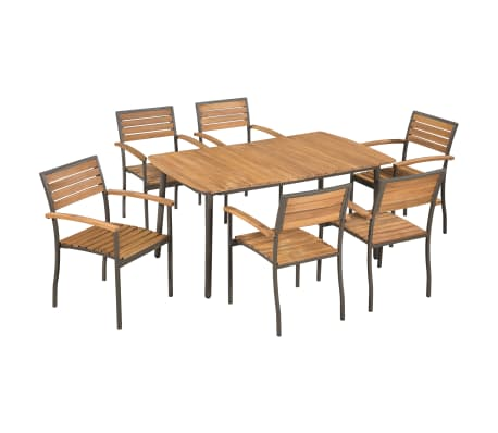 vidaXL 7 Piece Outdoor Dining Set Solid Acacia Wood and Steel