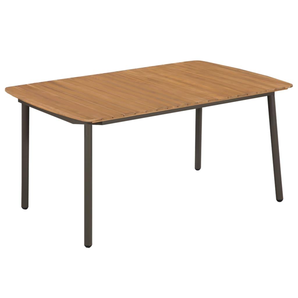 vidaXL Stół ogrodowy, 150x90x72 cm, lite drewno akacjowe i stal