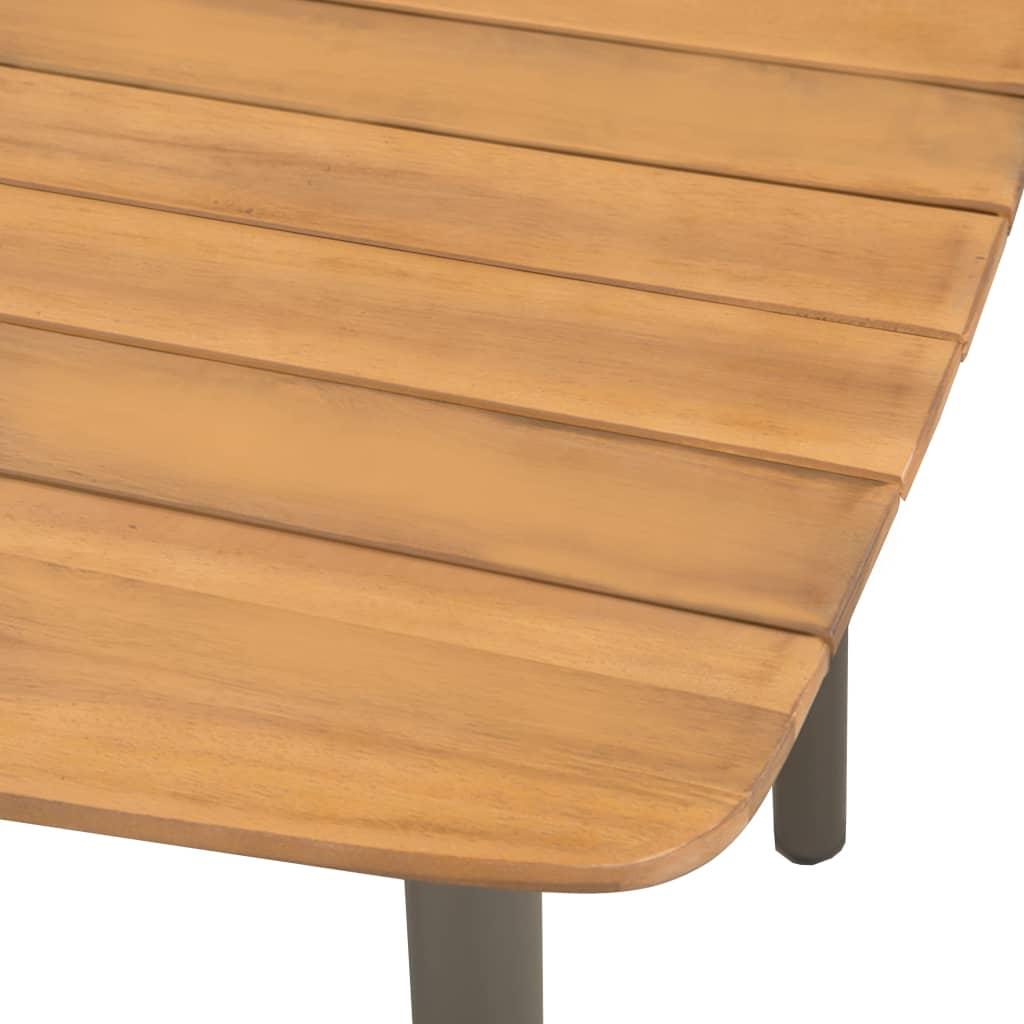 VIDAXL TABLE D\'EXTÉRIEUR Bois d\'Acacia Solide Acier Table de Jardin ...