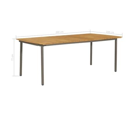 vidaXL Mesa comedor jardín madera maciza acacia y acero 200x100x72 cm
