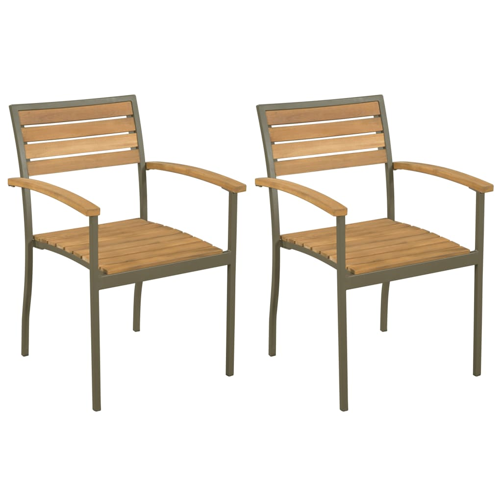 vidaXL Καρέκλες Κήπου Στοιβαζόμενες 2 τεμ. Μασίφ Ξύλο Ακακίας / Ατσάλι