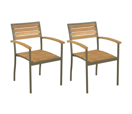 vidaXL Stackable Outdoor Chairs 2 pcs Solid Acacia Wood and Steel-picture