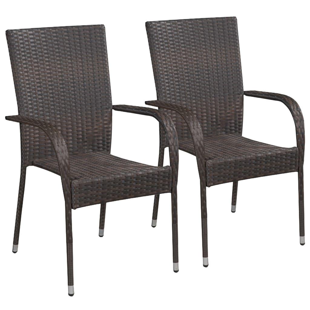 vidaXL Καρέκλες Κήπου Στοιβαζόμενες 2 τεμ. Καφέ από Συνθετικό Ρατάν