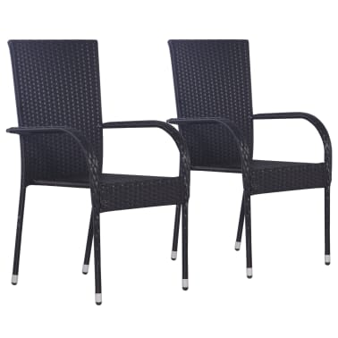 vidaXL Stackable Outdoor Chairs 2 pcs Poly Rattan Black[1/6]