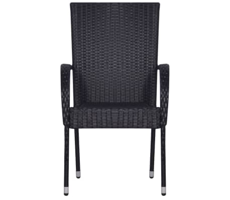 vidaXL Stackable Outdoor Chairs 2 pcs Poly Rattan Black[3/6]