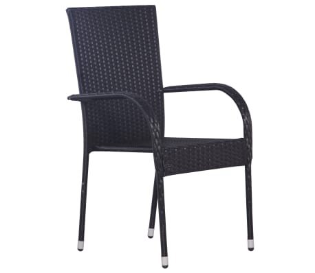 vidaXL Stackable Outdoor Chairs 2 pcs Poly Rattan Black[4/6]