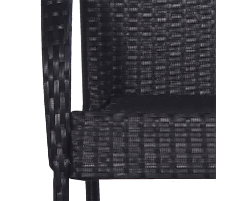 vidaXL Stackable Outdoor Chairs 2 pcs Poly Rattan Black[5/6]