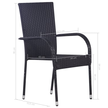 vidaXL Stackable Outdoor Chairs 2 pcs Poly Rattan Black[6/6]