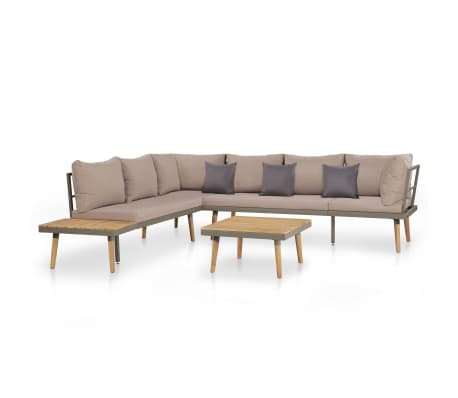 vidaXL 4 Piece Garden Lounge Set with Cushions Solid Acacia Wood Brown