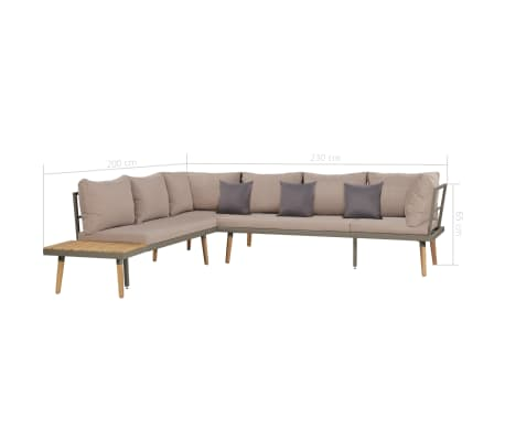 vidaXL 4 Piece Garden Lounge Set with Cushions Solid Acacia Wood Brown[7/8]