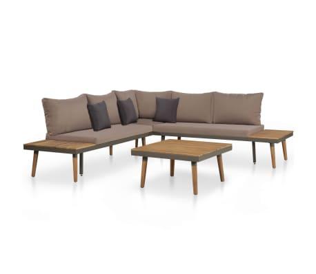 vidaXL 4 Piece Garden Lounge Set with Cushions Solid Acacia Wood Brown