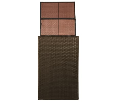 "vidaXL Single Wheelie Bin Shed Poly Rattan 29.9""x30.7""x47.2"" Brown[2/4]"