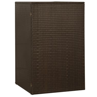 "vidaXL Single Wheelie Bin Shed Poly Rattan 29.9""x30.7""x47.2"" Brown[3/4]"