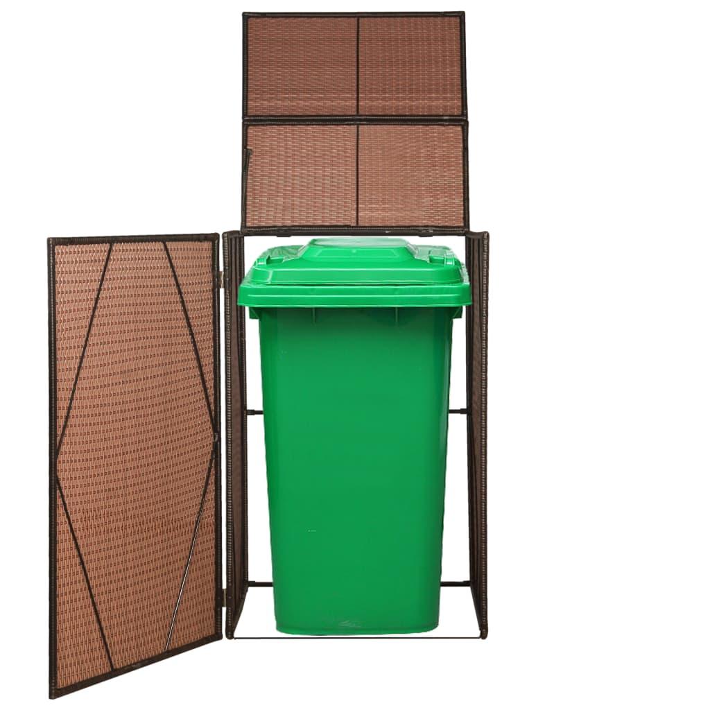 Přístřešek na popelnici polyratanový hnědý 76 x 78 x 120 cm