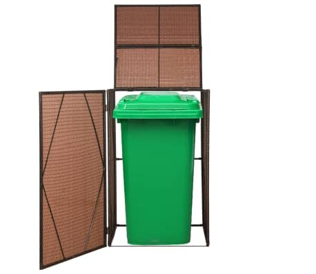 "vidaXL Single Wheelie Bin Shed Poly Rattan 29.9""x30.7""x47.2"" Brown[1/4]"