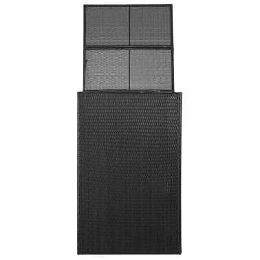"vidaXL Single Wheelie Bin Shed Poly Rattan 29.9""x30.7""x47.2"" Black[2/4]"