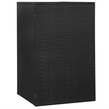 "vidaXL Single Wheelie Bin Shed Poly Rattan 29.9""x30.7""x47.2"" Black[3/4]"