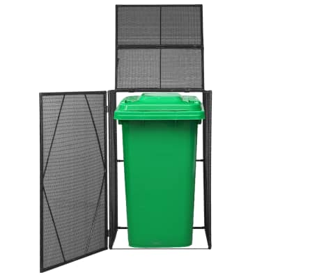 "vidaXL Single Wheelie Bin Shed Poly Rattan 29.9""x30.7""x47.2"" Black[1/4]"