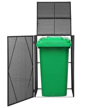 vidaXL Cobertizo contenedor de basura poli ratán negro 76x78x120 cm[1/4]