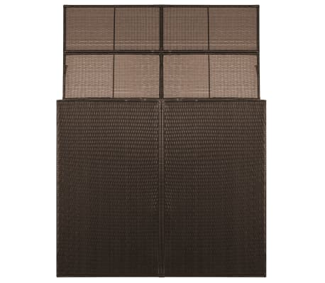 "vidaXL Double Wheelie Bin Shed Poly Rattan 60.2""x30.7""x47.2"" Brown[2/4]"