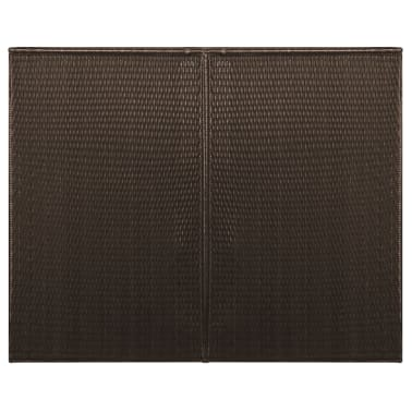 "vidaXL Double Wheelie Bin Shed Poly Rattan 60.2""x30.7""x47.2"" Brown[3/4]"