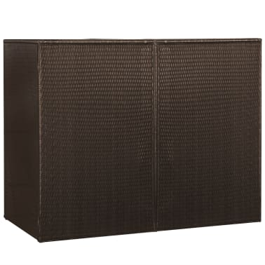 "vidaXL Double Wheelie Bin Shed Poly Rattan 60.2""x30.7""x47.2"" Brown[4/4]"