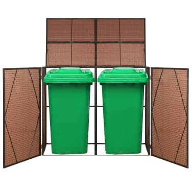 "vidaXL Double Wheelie Bin Shed Poly Rattan 60.2""x30.7""x47.2"" Brown[1/4]"
