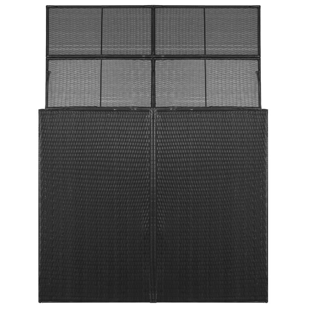Afbeelding van vidaXL Containerberging dubbel 153x78x120 cm poly rattan zwart