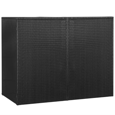 vidaXL Søppeldunkskur dobbel polyrotting 153x78x120 cm svart[4/4]