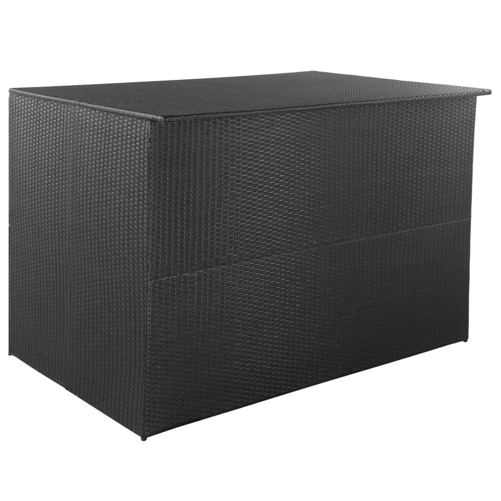 Zahradní úložný box černý 150 x 100 x 100 cm polyratan