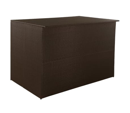 "vidaXL Garden Storage Box Brown 59""x39.4""x39.4"" Poly Rattan"