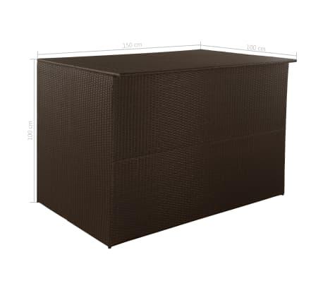 vidaXL Záhradný úložný box hnedý 150x100x100 cm polyratanový[7/7]