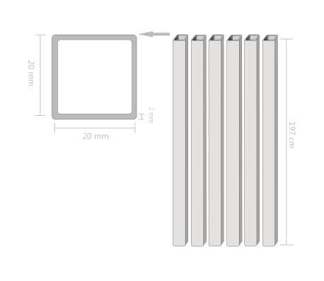 vidaXL Tuburi din oțel structural 6 buc., 20 x 20 x 2 mm, pătrat, 2 m[2/2]