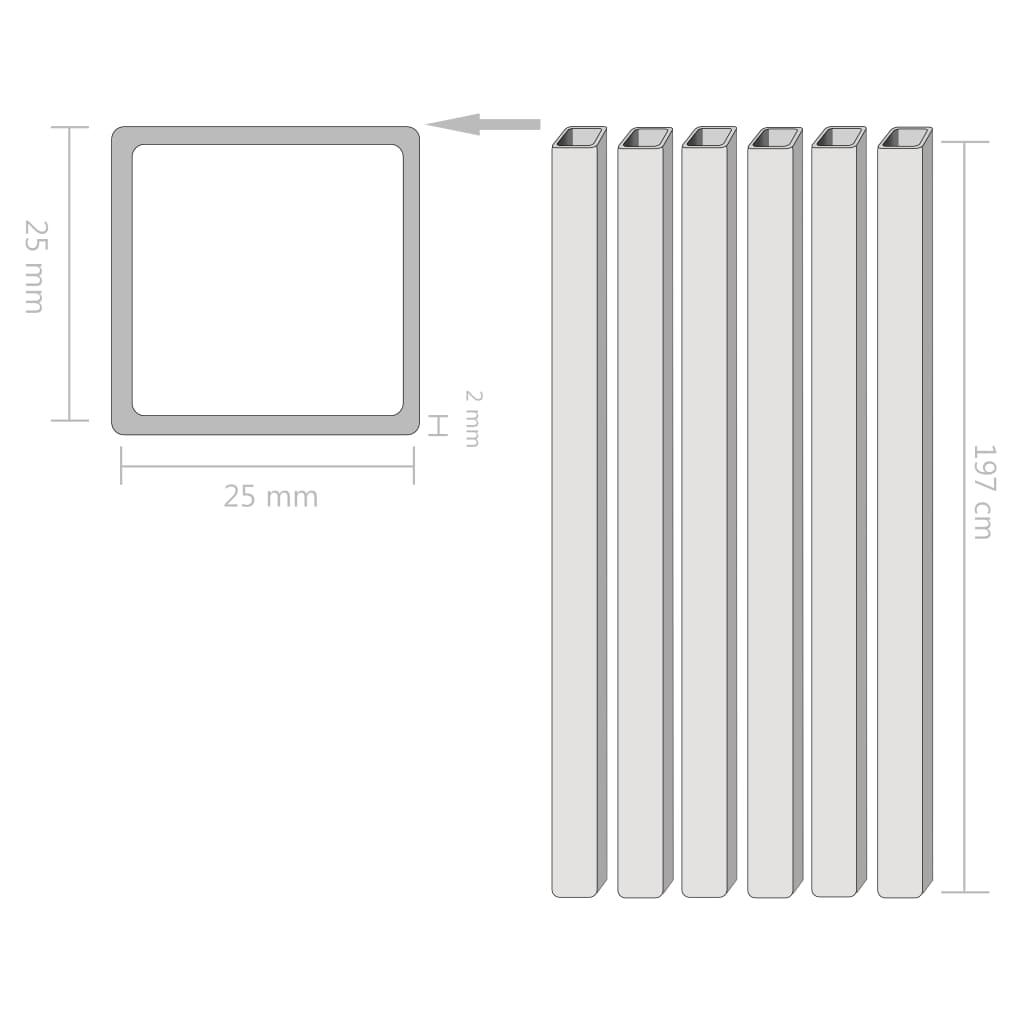 999143100 Baustahlrohre 6 Stück Quadratisches Kastenprofil 2m 25x25x2mm