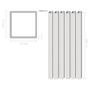vidaXL Tuburi din oțel structural 6 buc, 25 x 25 x 2 mm, pătrat, 2 m[2/2]