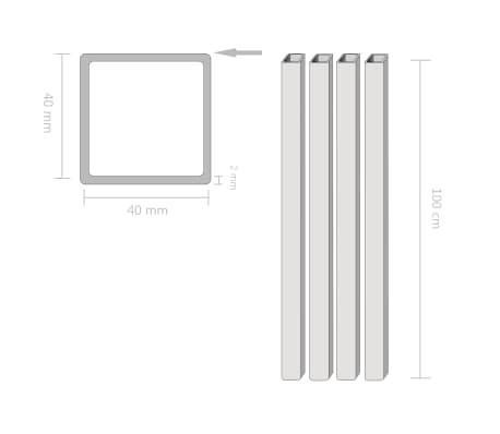 vidaXL Konstrukcinio plieno vamzdžiai, 4vnt., 40x40x2mm, 1m, kvadr.[2/2]