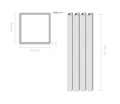 vidaXL Tuburi din oțel structural 4 buc, 40 x 40 x 2 mm, pătrat, 2 m[2/2]