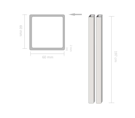 vidaXL Konstrukcinio plieno vamzdžiai, 2vnt., 60x60x2mm, 2m, kvadr.[2/2]