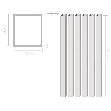 vidaXL Tuburi din oțel structural 6 buc, dreptunghiular 1m, 30x20x2 mm[2/2]
