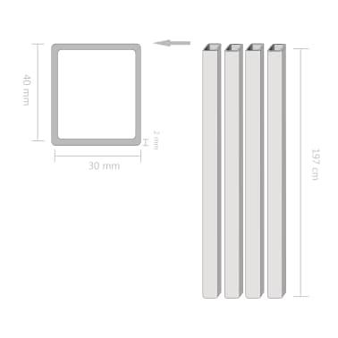 vidaXL Tuburi din oțel structural 4 buc, dreptunghiular 2m, 40x30x2 mm[2/2]