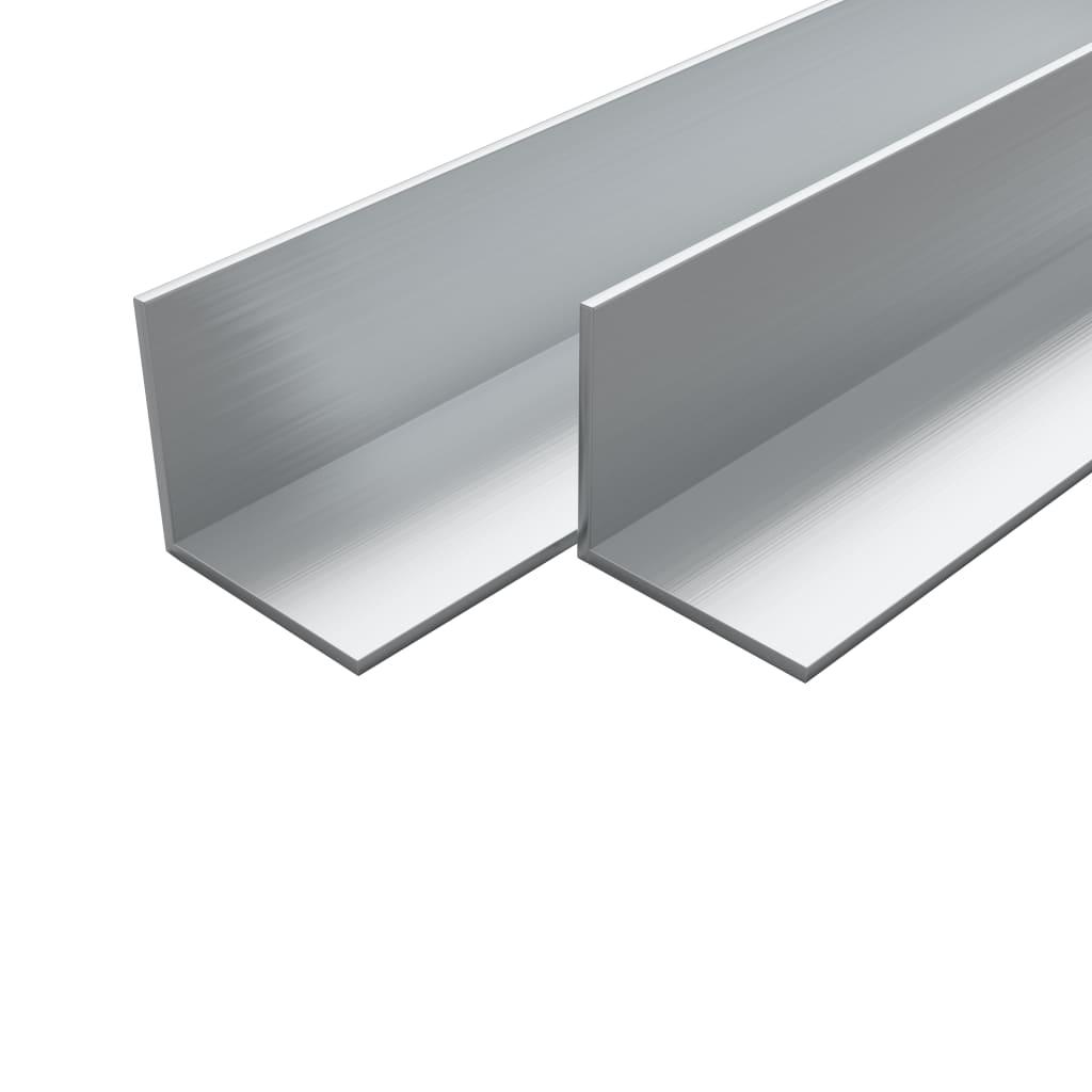 vidaXL Bare unghiulare aluminiu, profil L, 4 buc, 15 x 15 x 2 mm, 1 m imagine vidaxl.ro
