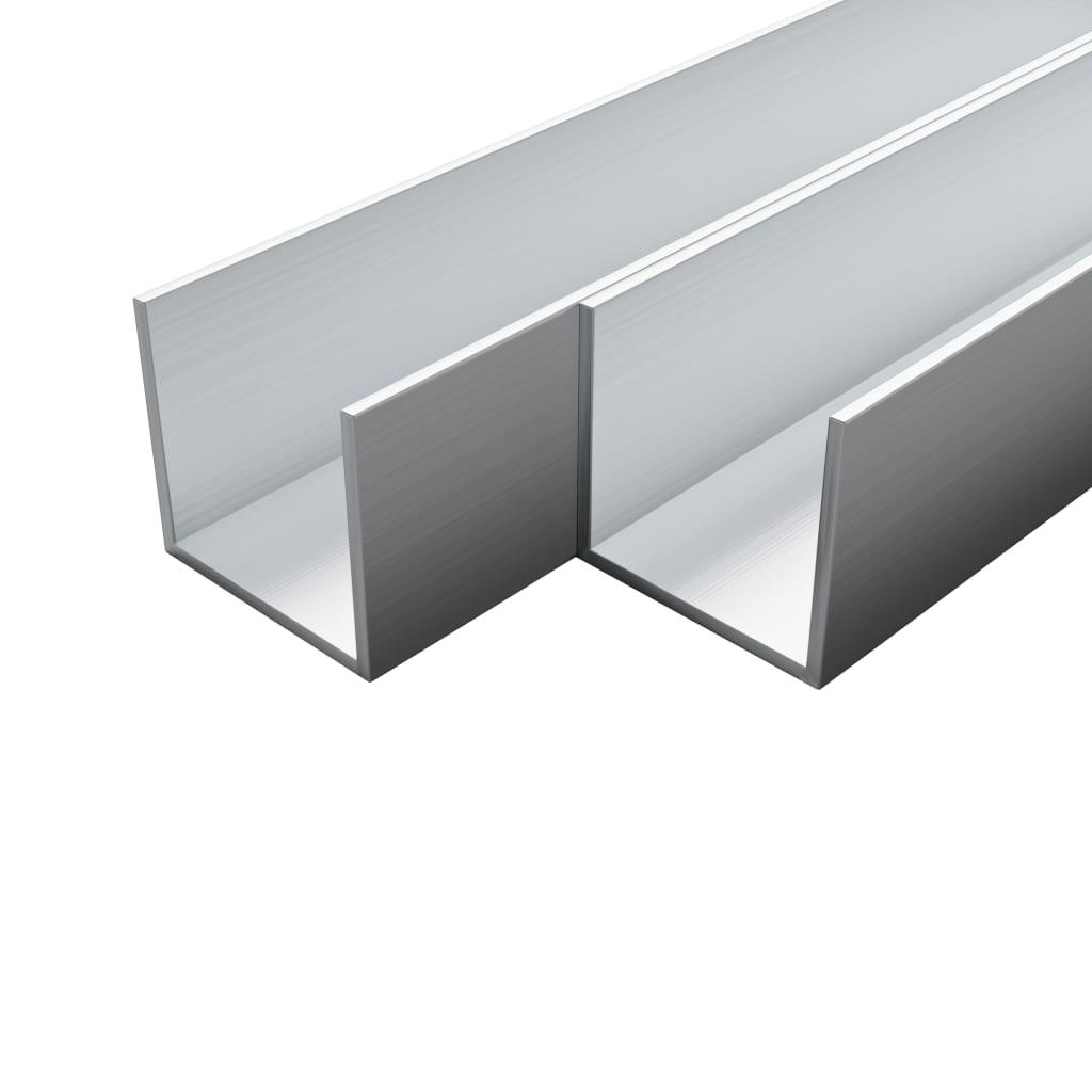 vidaXL Hliníkové kanály 4 ks U profil 1 m 10 x 10 x 2 mm
