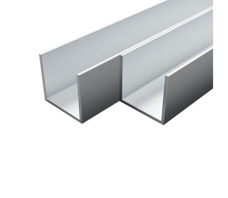 vidaXL Canale din aluminiu cu profil în U, 4 buc., 1 m, 10x10x2 mm[1/2]