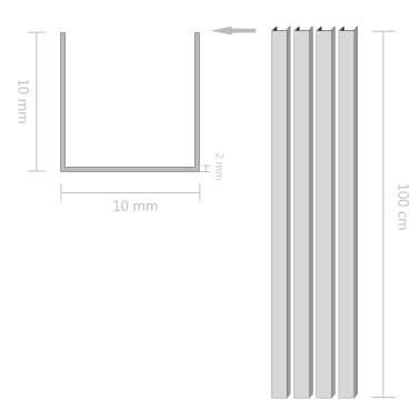 vidaXL Canale din aluminiu cu profil în U, 4 buc., 1 m, 10x10x2 mm[2/2]