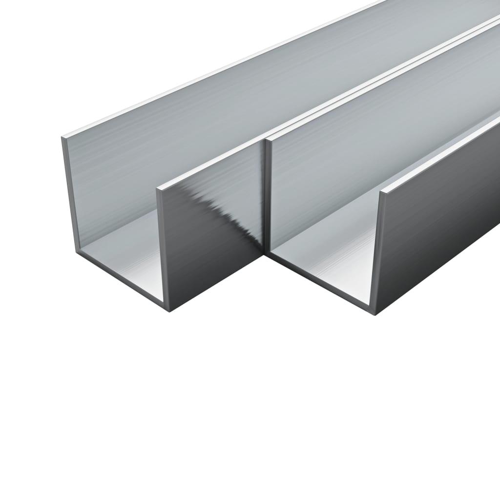 vidaXL Canale din aluminiu cu profil în U, 4 buc., 2 m, 15x15x2 mm imagine vidaxl.ro