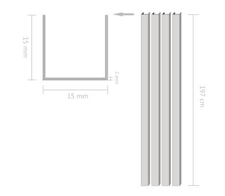vidaXL Canale din aluminiu cu profil în U, 4 buc., 2 m, 15x15x2 mm[2/2]